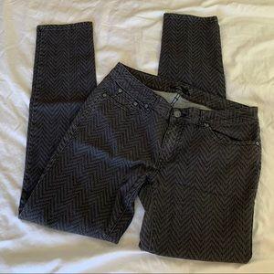Prana Kara 10 Skinny Jeans Stretch Gray Chevron